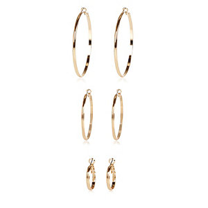Gold tone hoop earrings 3 pack