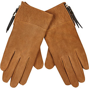 Tan brown quilted suede gloves