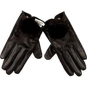Black leather pom pom gloves