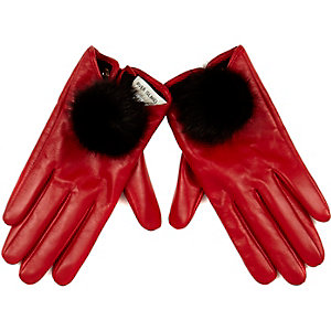 Red leather pom pom gloves