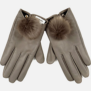 Grey leather pom pom gloves