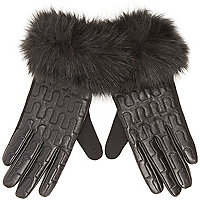 Black leather faux-fur trim gloves