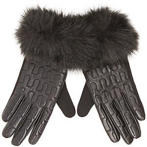 Black leather faux-fur trim gloves
