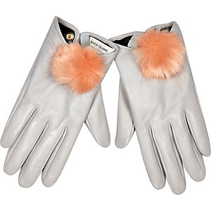 Grey leather pom pom gloves