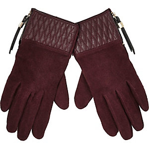 Dark red quilted suede gloves