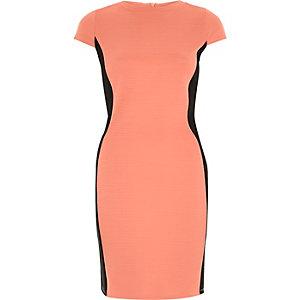 Coral pink bodycon mini dress