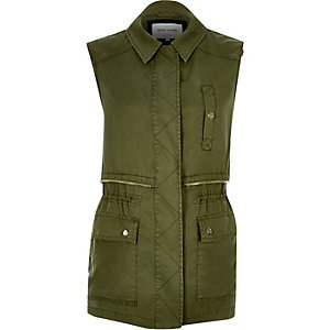 Khaki sleeveless military jacket