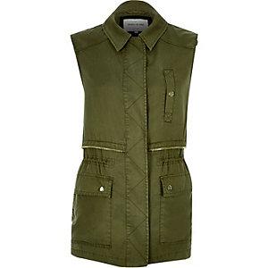 Khaki sleeveless military jacket