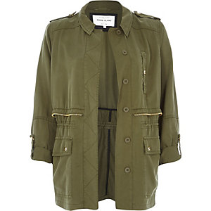 Khaki utility military casual jacket