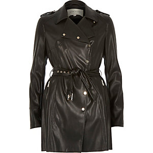 Black leather-look trench coat