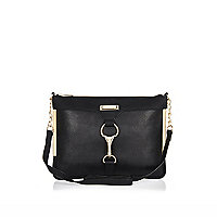 Black clip front cross body bag