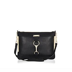 Black clip front cross body handbag