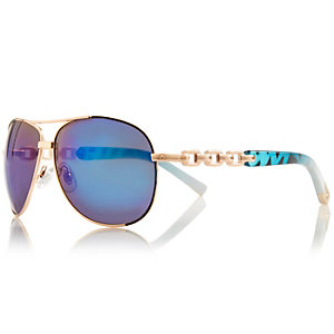 Gold tone chain aviator-style sunglasses