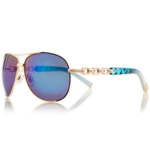 Gold tone chain aviator sunglasses