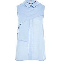 Blue pleat layer sleeveless shell shirt