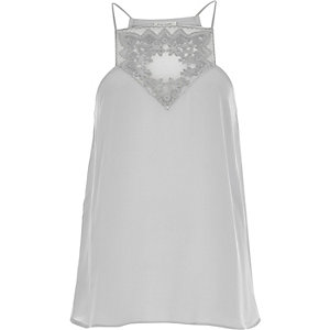 Light grey embroidered panel cami