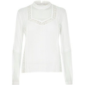 Cream lace high neck blouse