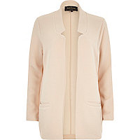 Cream inverted collar jersey blazer