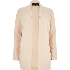 Cream jersey inverse collar blazer jacket