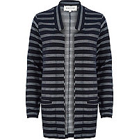Navy stripe inverse collar blazer