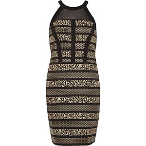 Black jacquard mesh panel bodycon dress