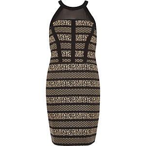 Black jacquard mesh panel bodycon dress