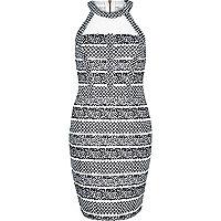 Black mesh panel jacquard bodycon dress