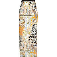 Yellow paisley print maxi skirt