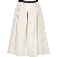 Black leather-look trim polka dot midi skirt