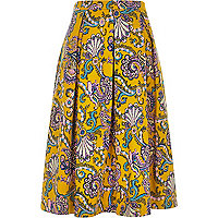 Yellow paisley print midi skirt