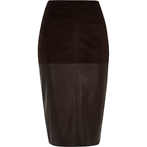 Dark brown faux-suede pencil skirt