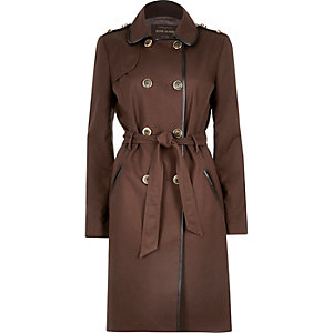 Dark brown leather-look trim trench coat