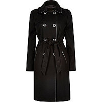 Black leather-look trim trench coat