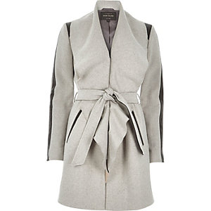 Grey wool-blend belted wrap coat
