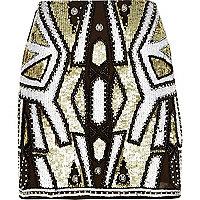 Khaki sequin mini skirt