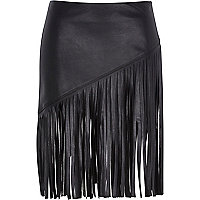 Black fringed leather-look skirt