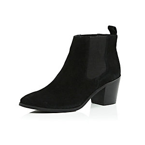 Black suede mid heel ankle boots