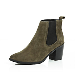 Khaki suede mid heel ankle boots