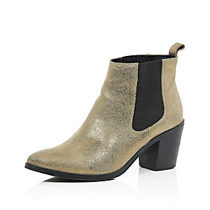 Gold leather mid heel Chelsea boots