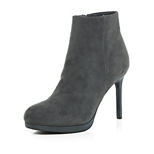 Grey suede platform ankle boots