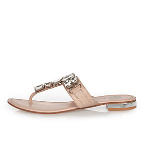 Nude embellished T-bar sandals