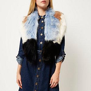 Blue faux fur tippet scarf