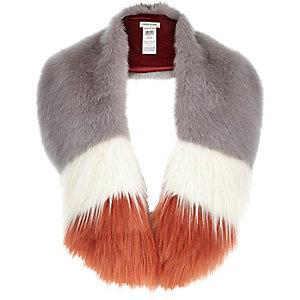 Lilac stripe faux fur tippet scarf