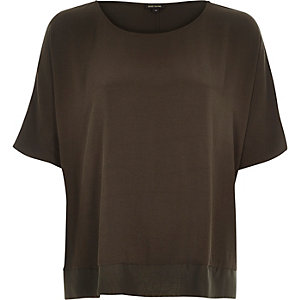 Khaki lightweight chiffon hem t-shirt