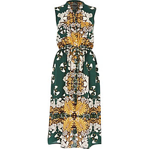 Green vintage print sleeveless shirt dress