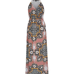 Pink floral print halter neck maxi dress