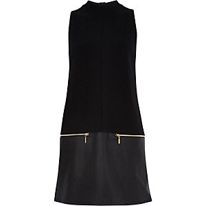 Black leather-look hem shift dress