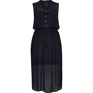 Navy waisted midi shirt dress