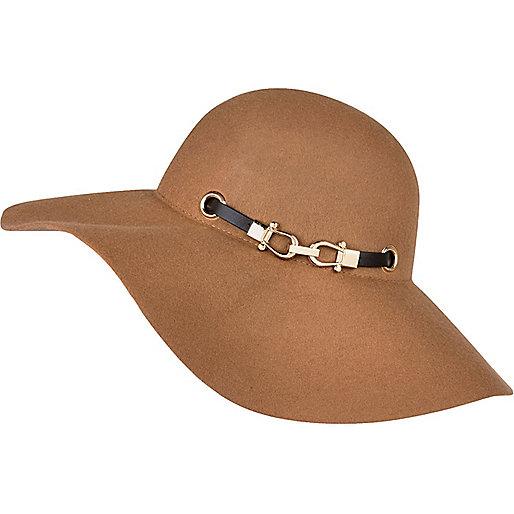 Beige Black Trim Floppy Hat