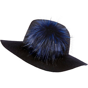 Navy pom pom fedora hat